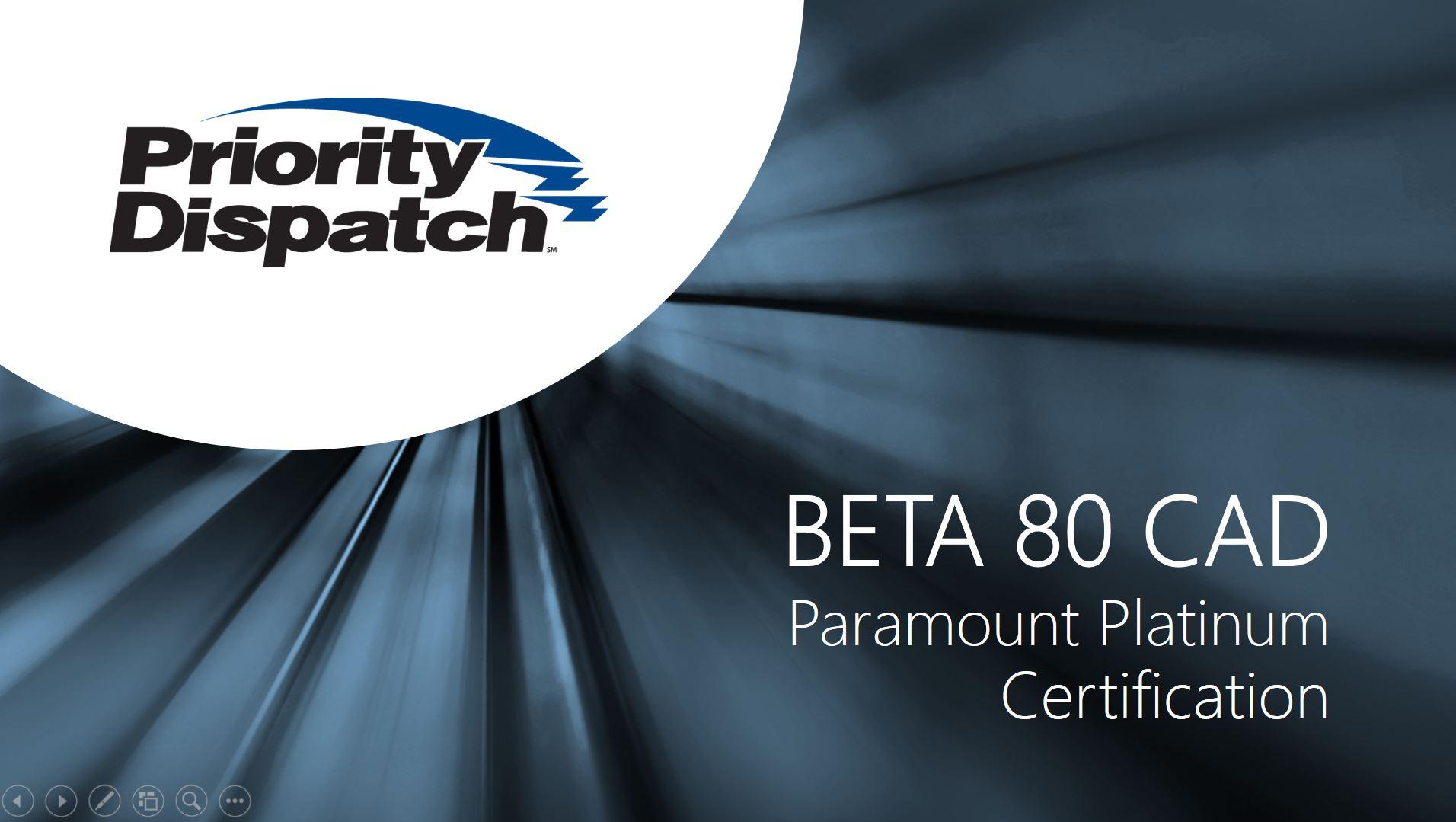 Beta 80 Cad Awarded Paramount Platinum Certification Us